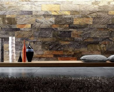 Amazing-Interior-Stone-Veneer-Small-Garden-Waterfall-Stone-Wall-Black-Cushions-Combined-with-Concrete-Tile-flooring-Ideas