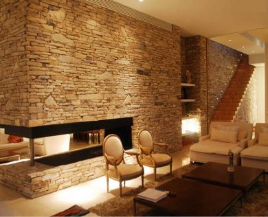 Calming-Modern-Interiors-with-stone-wall